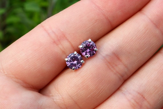 Colour Change Alexandrite Earrings - June Birthstone Stud Earrings - Purple Blue Earrings - Mood Stone - The Ivy Bee