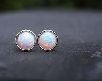 White Opal Earrings 925 - Minimalist Studs - Inspiration & Creativity - Multicolour  Opal - Wedding Bridesmaid Gift - October Birthstone