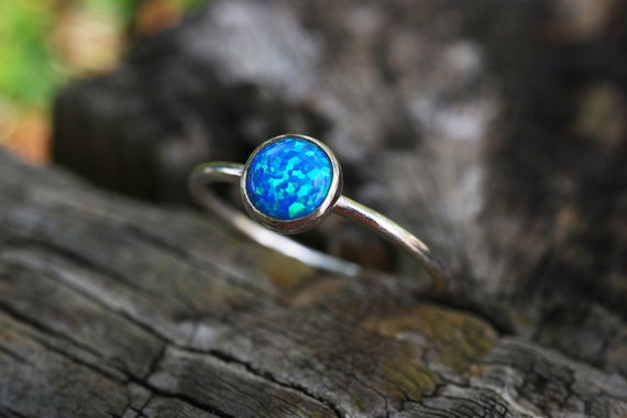 Royal Blue Opal Ring 925 - Stacking Ring - Inspiration & Creativity - Multicolour Fire Opal - October Birthstone