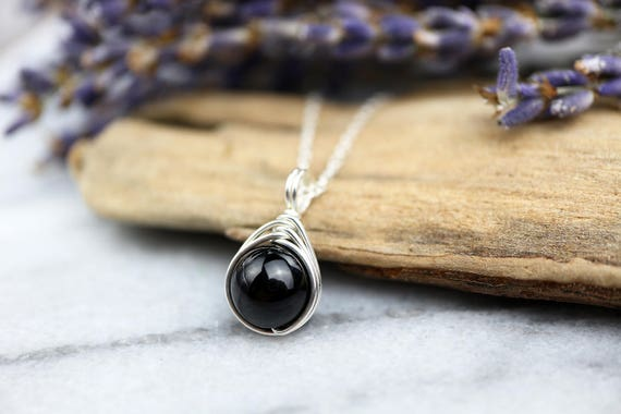 Black Tourmaline Necklace 925 - Wire Wrap Pendant- Grounding, Negative Energy Shield - Black Stone Pendant - The Ivy Bee