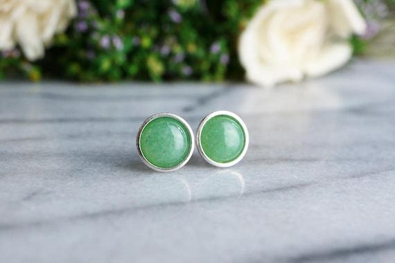 Aventurine Earrings 925 - Minimalist Earrings - Sterling Silver - Lucky Earrings - Opportunity, Prosperity, Wealth - May Birthstone