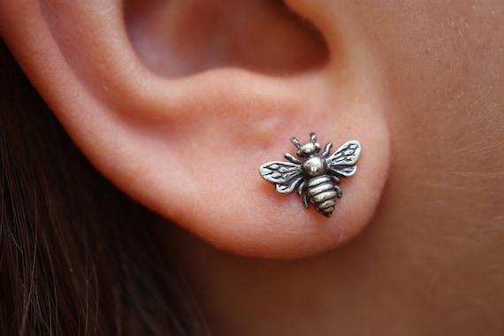 Antiqued Bee Stud Earrings - Sterling Silver 925 - Everyday Bee Studs - Honey Bee Earrings - The Ivy Bee