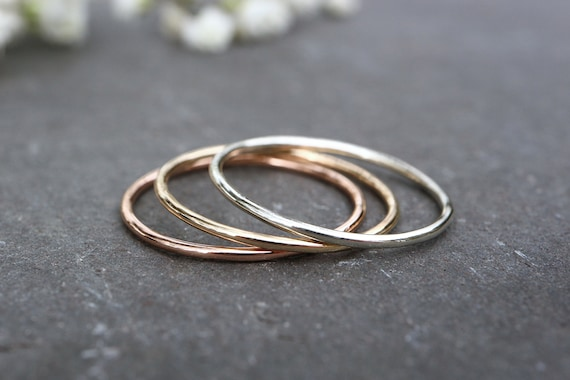 9ct Solid Gold Ring - 1mm, 1.2mm Thin Wedding Band - Skinny White Gold Rose Gold Ring, Yellow Gold Ring Skinny Stacking Ring - The Ivy Bee