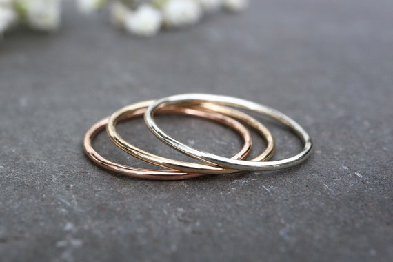 9ct Solid Gold Ring - 1mm, 1.2mm Thin Wedding Band - 100% Recycled Gold - Skinny White Gold Rose Gold Ring, Yellow Gold Ring - The Ivy Bee