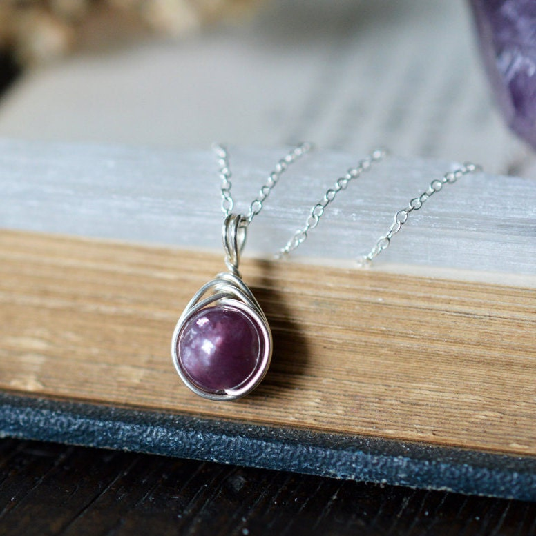 Lepidolite Necklace 925 - Wire Wrapped Pendant - Calming & Balance ...