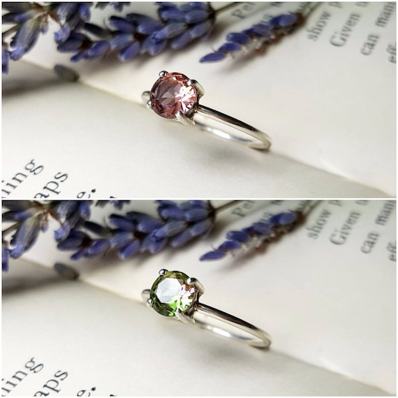 Faceted Diaspore Ring 925 - Brilliant Cut Diaspore - Colour Changing Stone - Pink and Green Ring - Mood Stone Ring