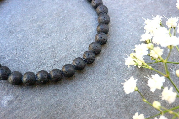 Lava Bracelet - Natural Lava Stretch Bracelet 6mm Beads - Unisex Mens Womens Essential Oil Bracelet - The Ivy Bee
