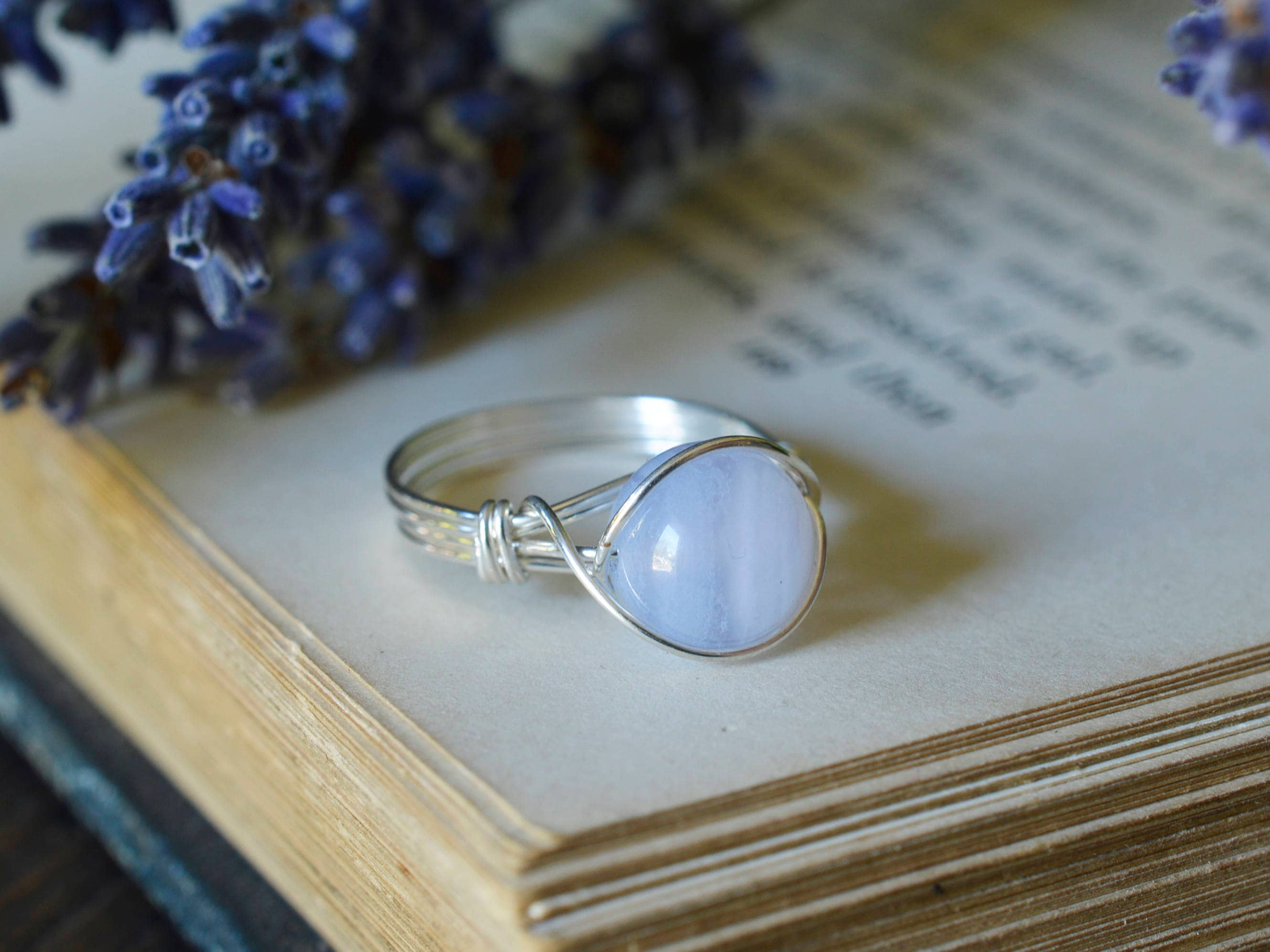 Blue Lace Agate Ring - Wire Wrapped Ring - Blue Ring - Soothing ...