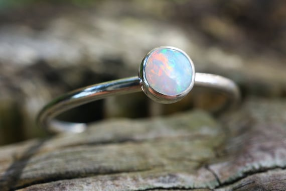 Natural Opal Ring 925 - A++ Fine Quality Opal Stacking Ring - Multicolour Fire Opal - 4mm Alternative Engagement Ring - October Birthstone