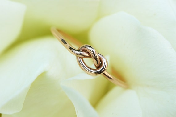 9ct Gold Knot Ring - Yellow Gold, Rose Gold Promise Ring, Friendship Ring - 9ct Solid Gold - Infinity Knot Loop Ring - The Ivy Bee