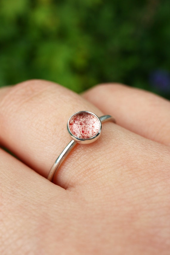 Strawberry Quartz Ring 925 - Stacking Ring Sterling Silver - Quartz Inclusions - Included Quartz Ring Lepidocrocite Ring - The Ivy Bee