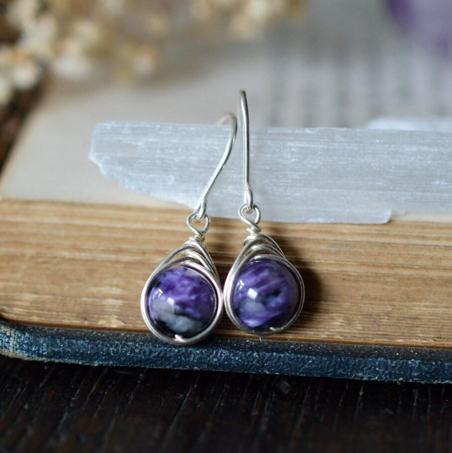 Charoite Drop Earrings 925 - Wire Wrapped - Purple Rare Gemstone ...