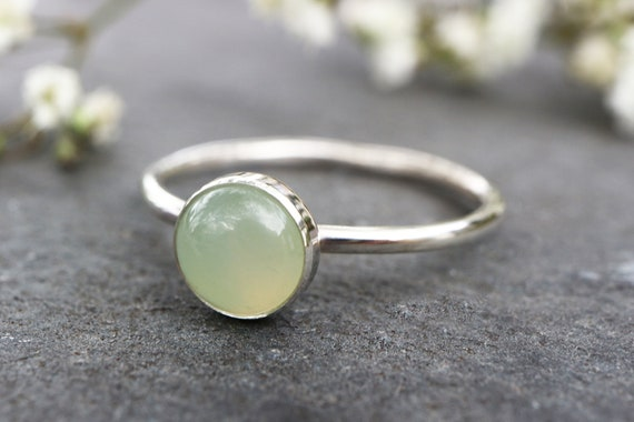 Jade Ring 925 - New Jade Stacking Ring Sterling Silver - Attract Love, Money and Protection - Heart Chakra - May Birthstone - The Ivy Bee
