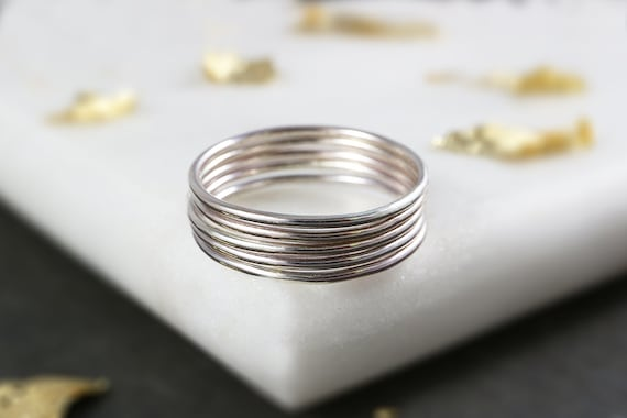 Super Thin Stacking Rings - Sterling Silver Skinny Stacking Ring - 1mm Stackable Rings - Polished Silver Ring - Set of Stacking Rings