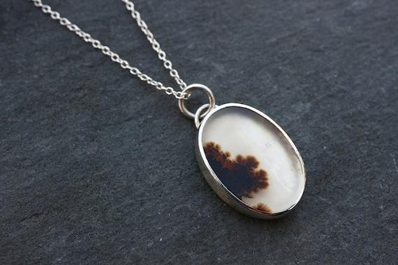 Rustic Dendritic Agate Necklace - OOAK Rectangle Landscape Necklace - Forest Necklace - Natural Landscape Agate - Sterling Silver