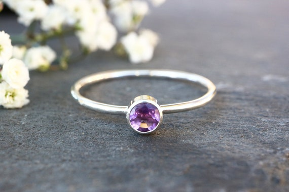 Small Faceted Amethyst Ring - Amethyst Stacking Ring 925 - Purple Ring - February Birthstone - The Ivy Bee
