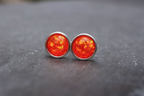 Orange Opal Earrings 925 - Minimalist Studs - Inspiration & Creativity - Multicolour Fire Opal - October Birthstone