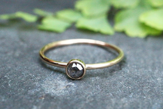 9ct Gold Salt and Pepper Diamond Ring - Stacking Ring - Rose Cut Diamond Ring - Rough Diamond - April Birthstone