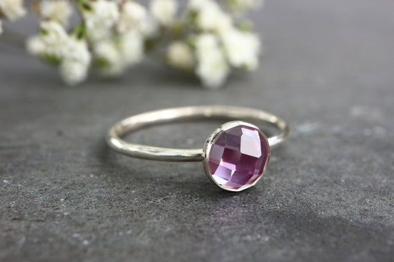 Faceted Alexandrite Stacking Ring 925 - Colour Changing Stone Alexandrite - Checker Cut Mood Stone Ring - June Birthstone