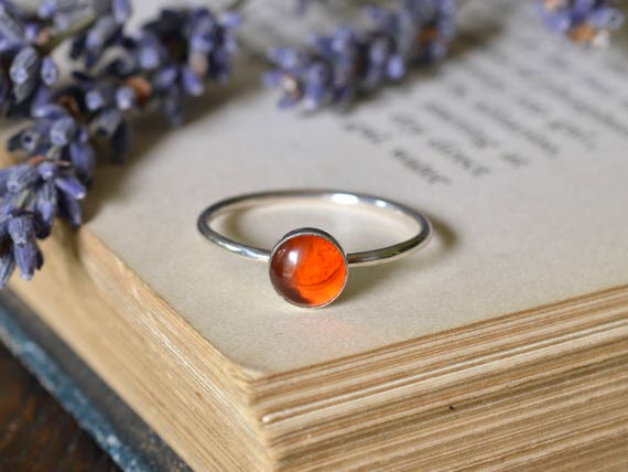Amber Ring 925 - Amber Stacking Ring  - Clears The Mind and Eases Stress - Sterling Silver Amber Ring