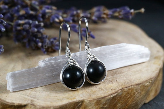 Black Rainbow Obsidian Earrings 925 -Wire Wrapped Drop Earrings - Sterling Silver - Stone of Pleasure  - The Ivy Bee