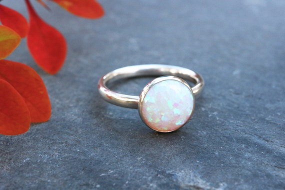 Chunky Opal Ring 925 - 10mm Statement Ring - Inspiration & Creativity - Multicolour Fire Opal - Alternative Engagement - October Birthstone