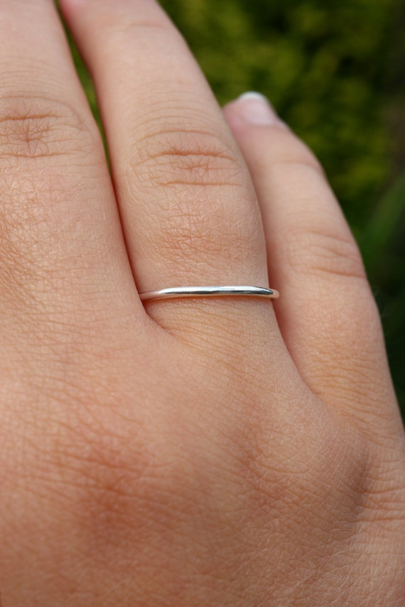 Single Stacking Ring - 1.3mm Sterling Silver - Wedding Ring - Simple Stacking Ring - Spacer Thin Ring - The Ivy Bee