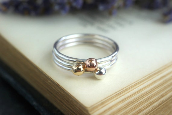 Gold Pebble Stacking Ring 925 - 9ct Gold Blob Stacking Ring - Nugget Ring - Dainty Stacking Ring - Everyday Jewellery - The Ivy Bee Handmade