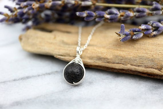 Lava Stone Necklace 925 - Wire Wrap Pendant- Matte Black Textured Gemstone - Volcanic Necklace - The Ivy Bee