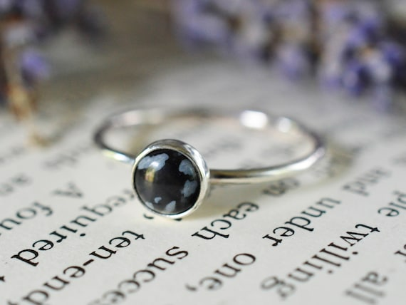 Snowflake Obsidian Stacking Ring 925 - Sterling Silver Ring - Starry Night Sky Ring - Black Stacking Ring