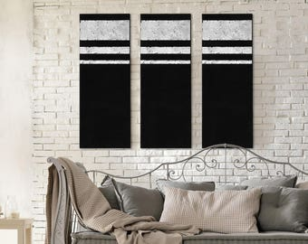 Large Abstract Painting Original Black with Gold or Silver Leaf Modern Set of Acrylic Panels on Canvas Modern Minimalist Wall Art Decor