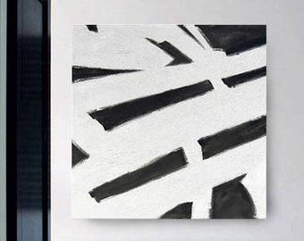 """White and Black Painting 38"""" x 38"""" Original Hand Painted Large Acrylic Abstract Modern Minimalist Canvas Wall Art Living room Decoration"""