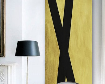 Original Painting Black Gold Leaf Abstract Painting, Large Wall Art Contemporary Art, Vertical Canvas Art, Vertical Geometric Art