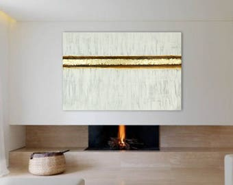 """Gold Leaf Extra Large Abstract Painting 56""""x37"""" Original Neutral White Brown Acrylic on Canvas Modern Minimalist Wall Art Living room Huge"""
