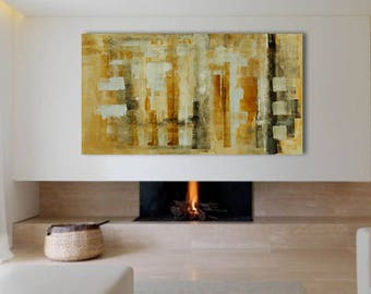 """Large Abstract Painting Rectangular 67""""x35"""" Original Neutral Cream Brown White Acrylic on Canvas Modern Minimalist Wall Art Living room Huge"""