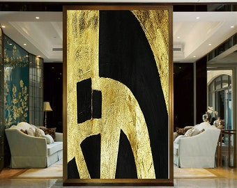 Large Wall Art Canvas Art Abstract, Modern Art Canvas Painting Minimalist Black and Gold Leaf, Vertical Minimalist Painting