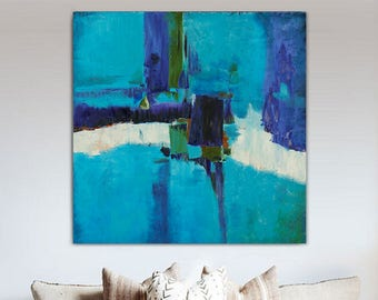 """Large Abstract Painting Blue White 39"""" x 39"""" Original Oil on Canvas Modern Minimalist Huge Giant Wall Art Contemporary FREE SHIPPING"""