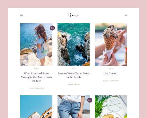 Demi Grid Based Blogger Theme Responsive Blogger Template Etsy
