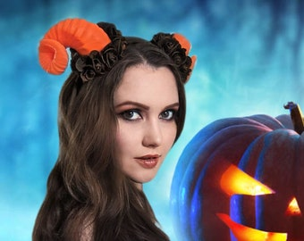 Orange Halloween Demon Ram Horns Headband - red cosplay devil antler headpiece pastel goth clothing