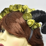 Dark Yellow Ram Horns Headband - Satyr | pastel goth | creepy cute | gothic clothing | gothic crown | clothing Devil Tiara | floral crown