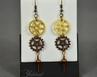 Steampunk Jewelery - Handmade copper and gold steampunk earrings with gears and cogs - Marry | Cosplay earrings | Cosplay jewellery