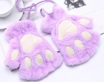 Purple Fingerless Paw Gloves   Fluffy Plush Cat    Fursuit Paws   Neko cosplay