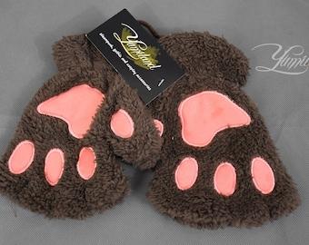 Dark Brown Fingerless Paw Gloves   Fluffy Plush Cat    Fursuit Paws   Neko cosplay