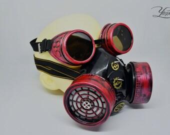 Red Steampunk Respirator Mask   Cyberpunk gas mask   Burning Man Mask   Cyberpunk respirator   Cyber goth mask   Halloween mask