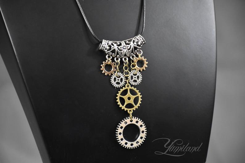 steampunk costume steampunk clothing festival necklace Steampunk necklace necklace with gears necklace with cogs Steampunk Pendant