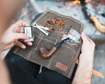 Waxed Canvas Pipe Roll // Travel Tobacco Pouch