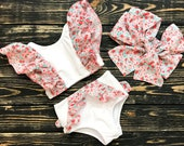 Two Piece White Cute Bikini Bathing Suit for Teens Girls (Top And Bottom)
