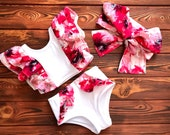 White Floral Bathing Suit for Girls Handmade Bikini Swimsuit Set (Top Bottom) Size Newborn to Children Baby Girl Gift from Uncle
