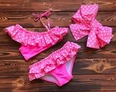Pink Two Piece Swimsuit for Baby Girl and Kids Handmade Clothing