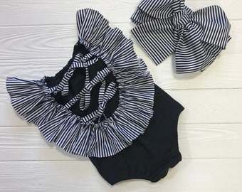 b84eafe9642 One-piece infant swimsuit with striped ruffles